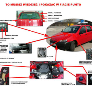 Światła i płyny  Fiat Grande Punto oraz punto, sprawdzian na egzamin Prawa jazdy B